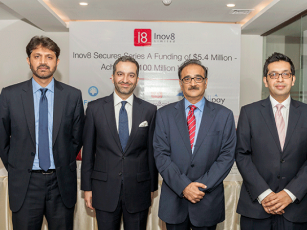 Standing (L-R) Muhammad Aqib Zulfiqar (Member BOD and CFO Inov8), Bashir Sheikh (Co-Founder and Co-CEO Inov8), Rizwan Tiwana (CEO Wateen), and Hasnain Sheikh (Co-Founder and Co-CEO Inov8).PHOTO: Inov8